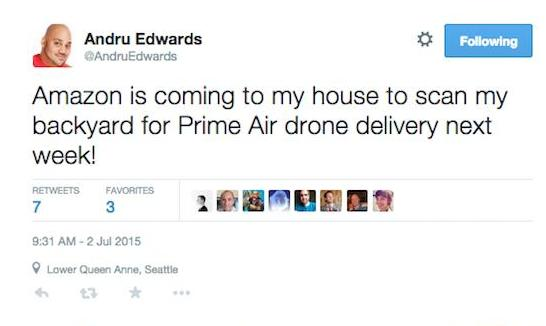 Andru Edwards talk about Prime Air in his twitter account