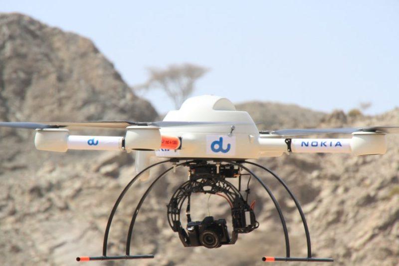 檢查及分配射頻用的 Nokia 大型無人機。