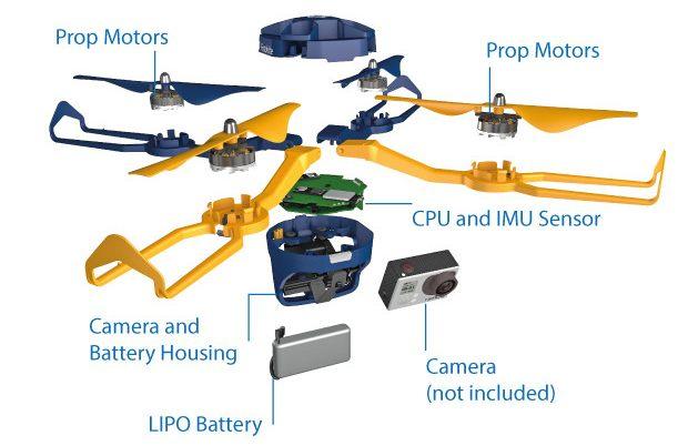 Fotokite Phi 無人機機身解構圖