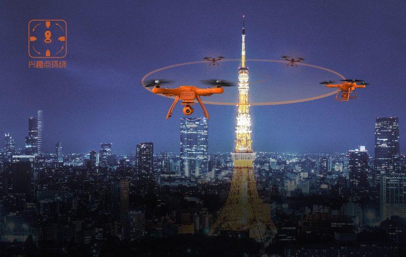 朱雀無人機具備興趣點環繞飛行功能,用戶可指令朱雀無人機以預設被攝物為中心點作環繞飛行,進行 360° 全方位航拍。