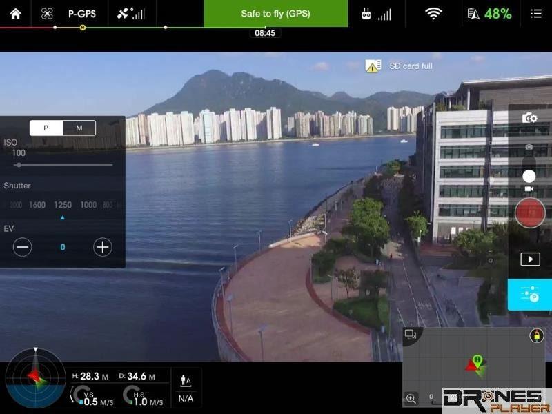 部分手機 app 可讓航拍玩家在飛行時設定感光度、白平衡、快門等細節。
