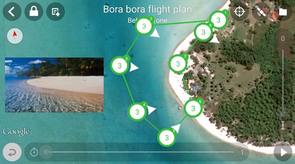 Parrot Flight Plan 在自動飛行時同步展示鏡頭和航道畫面。