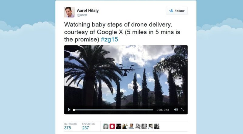 Aaref Hilaly 在其 Twitter 帳戶上,發布 Google 新型無人機的飛行片段。