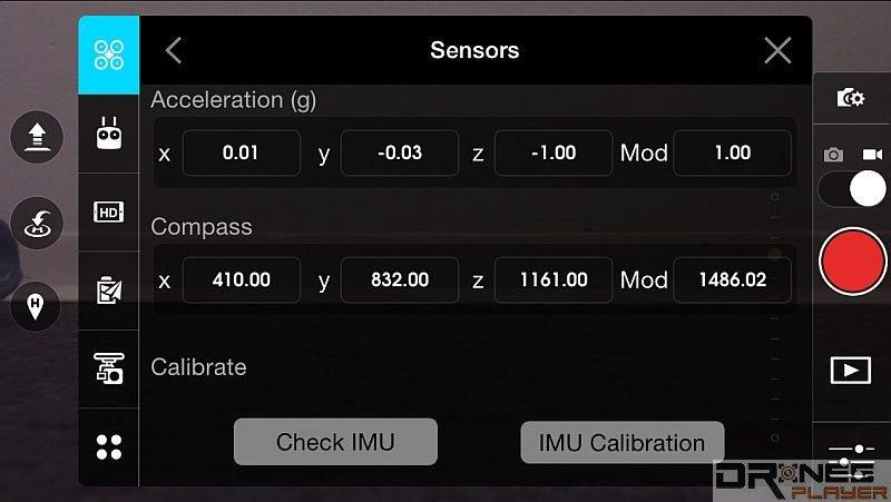 無人機廠商推出的手機App,通常可讓用戶檢測和校正 IMU 數值。