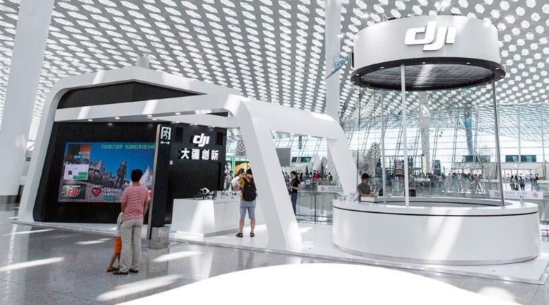 DJI 深圳旗艦店設計風格或會跟位於深圳寶安機場的 DJI Pop Up Store 設計相近。