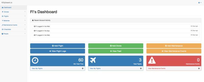 登入《Kittyhawk》網頁版(http://kittyhawk.io)後,除了詳細列出飛行記錄,也可在「People」中邀請朋友參與。