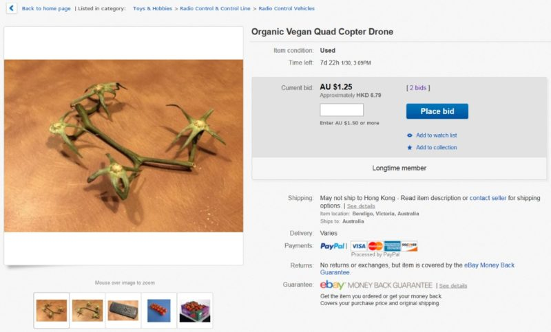 Organic Vegan Quad Copter Drone 二手「有機純素四軸無人機」,起標底價 0.99 澳元(約 5.4 港元或 23.3 台幣)。