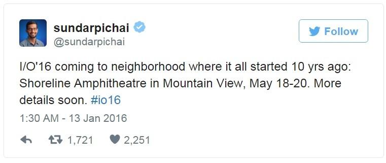 Sundar Pichai 在 Twitter 上宣布 Google I/O 2016 大會將於 Shoreline Amphitheater 圓形劇場舉行。