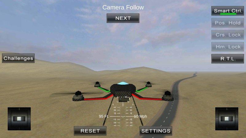 初學者可從先第一身視角的航拍畫面練習飛行技巧,當熟習操作後,便可轉換視角,嘗試模擬實際操作。