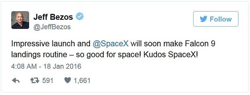 Jeff Bezos 在 Twitter 上為 SpaceX 加油打氣。