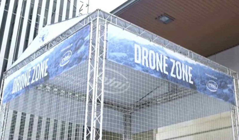 Intel 在 MWC 設置了無人機地帶作飛行示範。