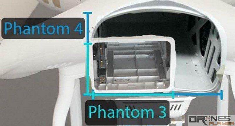 DJI Phantom 4 電池插槽幾近比 Phantom 3 大上一倍,電池續航力絕對值得期待!