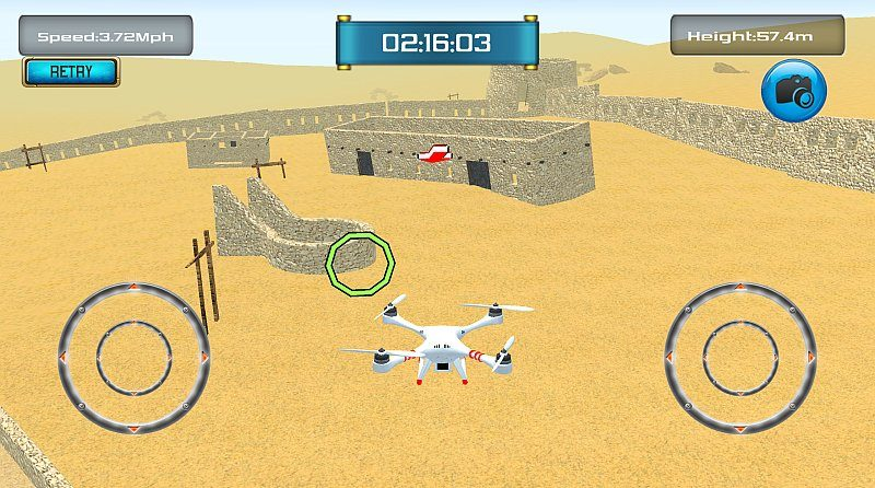《Free Flight Drone Simulator 3D》操作介面十分簡單,用家只要兼顧升降、加減速度和方向等「基本功」便可以。
