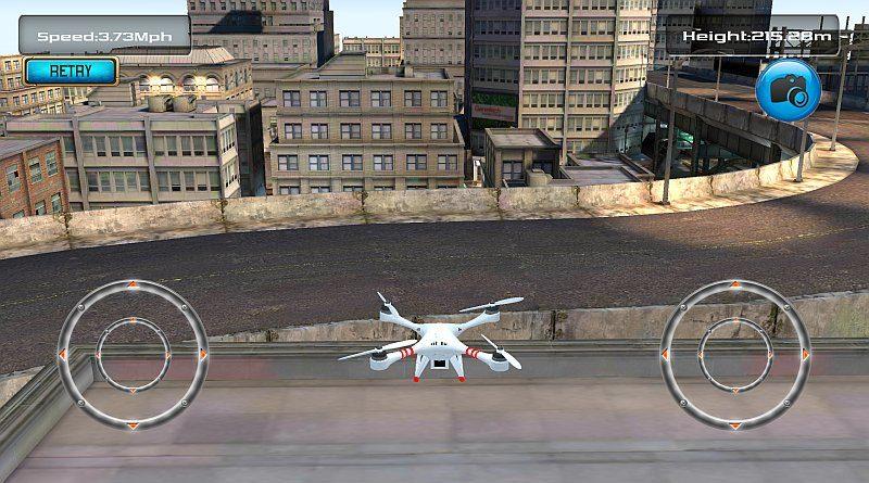 雖說《Free Flight Drone Simulator 3D》只提供兩個視覺角度,但操作起來,觀感已截然不同。