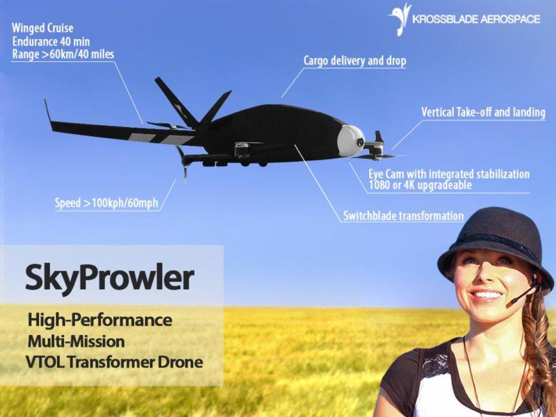 SkyProwler 是專業級無人機,能垂直升降,又能定翼飛行。