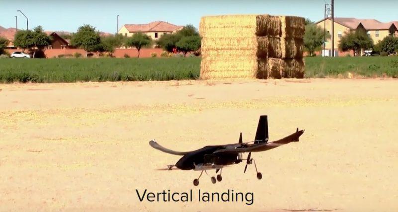 SkyProwler 能靠旋翼垂直升降。