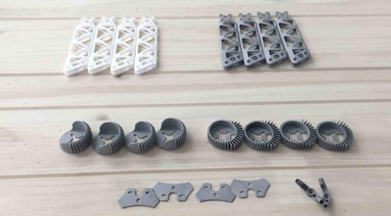 除了左上白色的零件用尼龍製成,其餘都是鋁製零件。