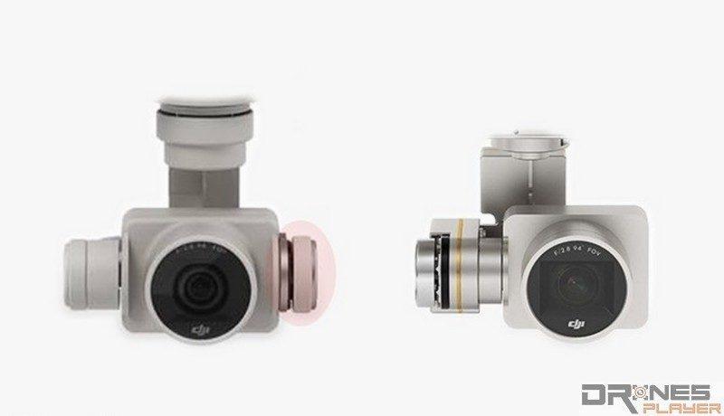 左方 DJI Phantom 4 連接航拍相機的雲台,用上雙軸式支撐臂結構;右方的 Phantom 3 則採用單軸式結構。
