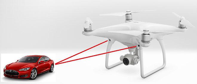 DJI Phantom 4 機身前方的 2 組偵測鏡頭,正是避障系統的運作關鍵所在。
