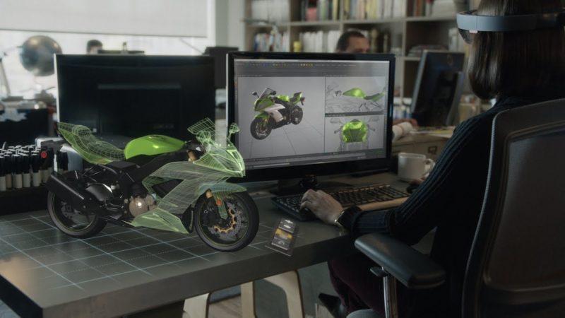 配戴 HoloLens 後,設計電單車不限於電腦螢幕上,更可以全息影像呈現。