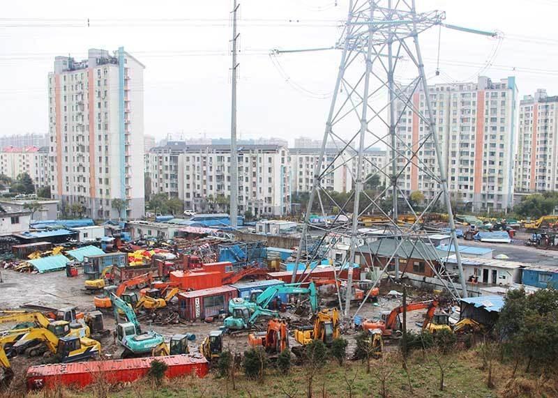 上海迪士尼旁的川楊河南岸清拆前