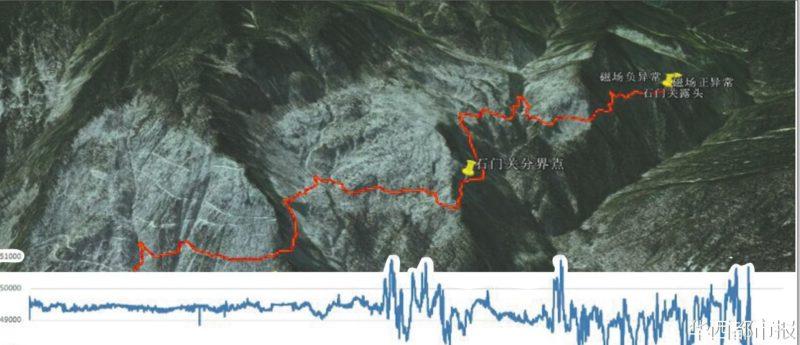 無人機探測到黑川溝有 60 公里長的地磁異常帶。(圖片取自華西都市報)