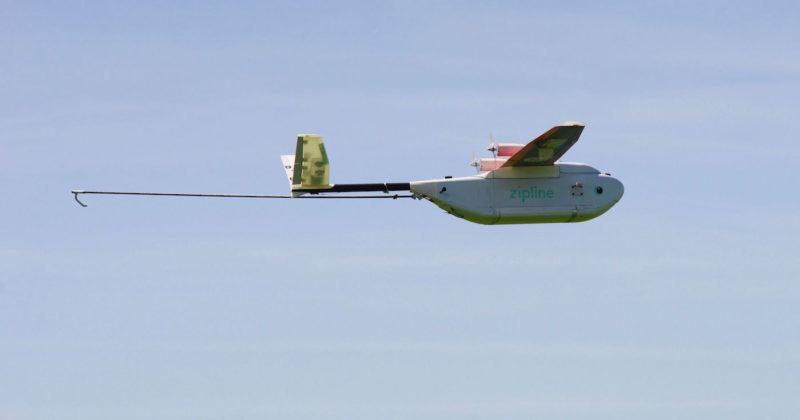 Zipline 的 Zip 無人機採用固定翼設計,翼展 2 米。