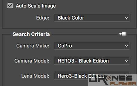 Step 04. 剔選 [Auto Scale Image] 自動按修正剪裁相片,然後於 [Search Criteria] 選擇拍攝的相機型號,例如: GoPro Hero 3+ Black Edition