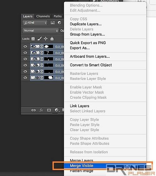 全選所有圖層,然後按滑鼠右鍵選取 [Merge Visible],把可見圖層合併起來。