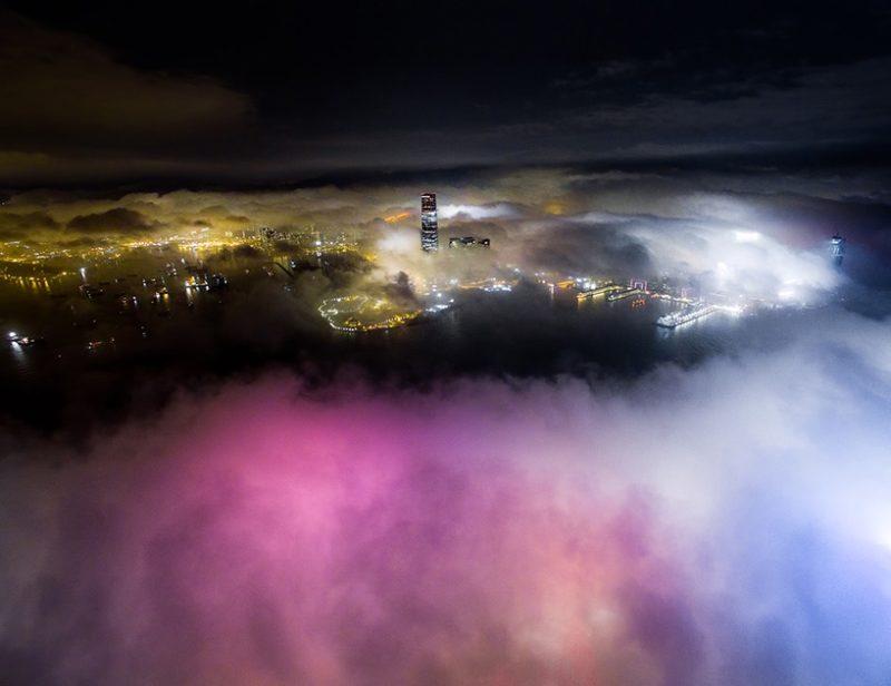 Andy Yeung 航拍作品系列《Urban Fog》之二。(圖片來源:Andy Yeung Photography)