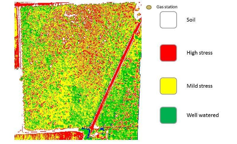 藉由紅外線或熱能感應航拍相機所拍攝的農田,可按不同顏色顯示農作物的健康狀況。