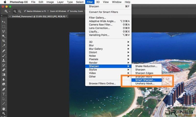 最後在選單上揀選 [Filter] --> [Sharpen] --> [Smart Sharpen] ,開啟智慧式銳利工具。