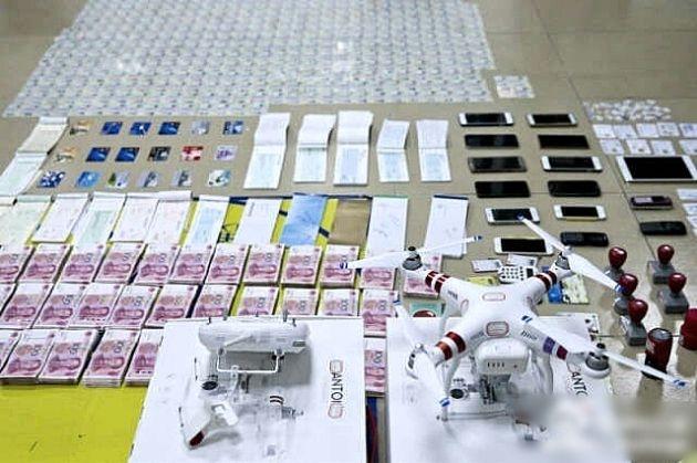深圳公安發布由犯罪集團檢獲的物件,包括航拍機 DJI Phantom 3 Standard。