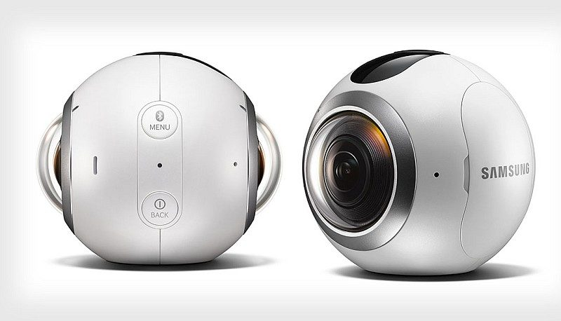 Samsung Gear 360兩邊各設一支魚眼鏡頭,能夠拍攝出 3840 x 1920 @ 30fps 的 360 度影片。