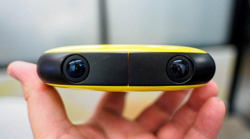 Vuze Camera 機身四側各設兩支鏡頭,能夠拍到水平 120°及垂直 180°的景物,拼合為一段 4K 級數的立體 VR 全景影片。