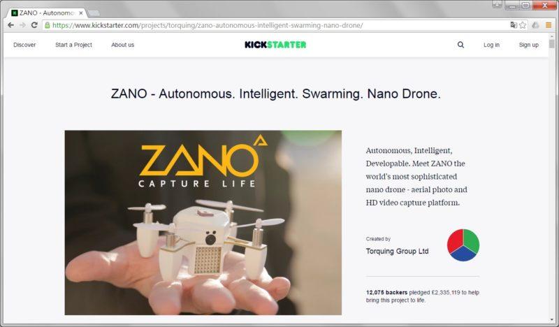 Torquing Group 和 Zano 無人機的官方網站已在破產時關閉;至於相關 Kickstarter 眾籌頁面仍何如常瀏覽。