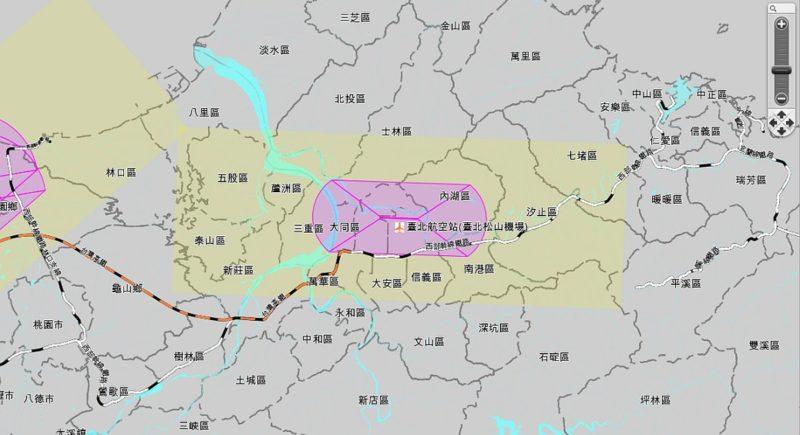 從機場禁限建管制查詢系統網站可以看到台北機場禁飛範圍。