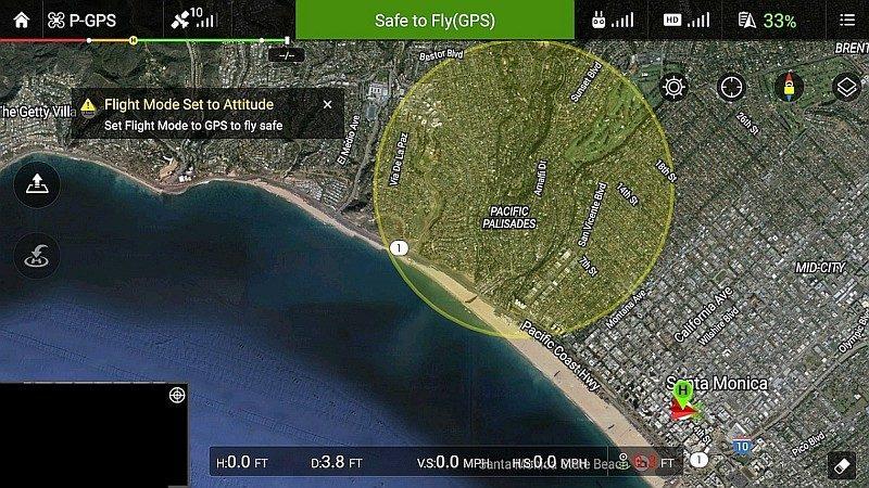 新版《DJI Go》內預載的 GEO 地理圍欄功能,提供山火資訊即時通知服務,更可將火災劃作臨時禁飛區。