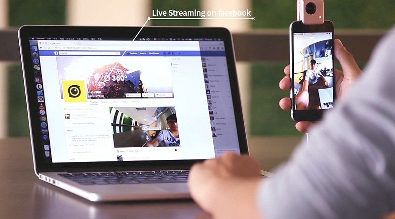 Insta360 Nano 搭配 iPhone 後,能夠將 360 度全景畫面分享到 facebook 作網上直播。