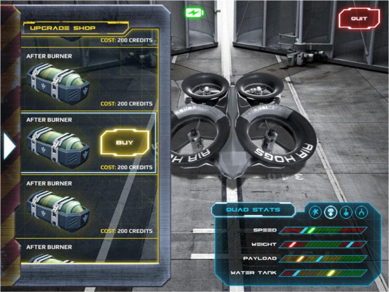隨著遊戲的推進,玩家需要為 Air Hogs Connect: Mission Drone 升級裝備,如:強化武器、提升速度等。