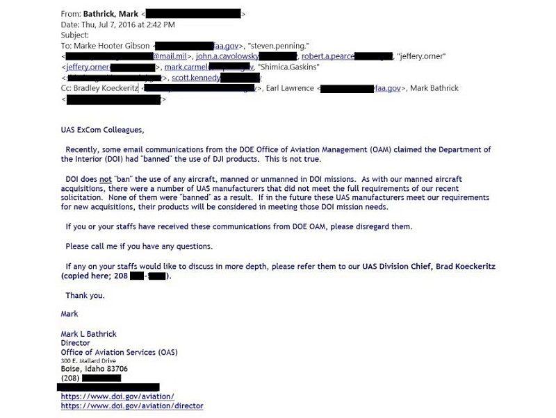 Twitter 上流出另一封疑似是美國內政部發出的電郵,澄清當局只是不會採用不符合標準無人機公司的產品。