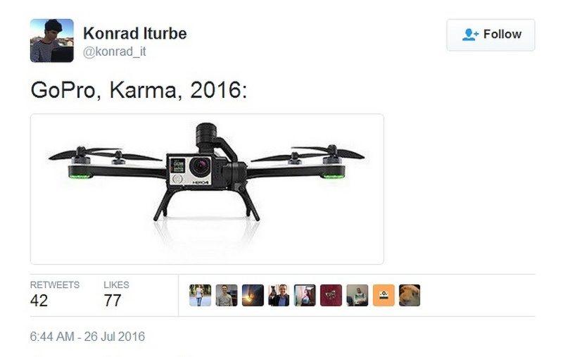這張疑似是 Karma 空拍機的照片,據稱是從 GoPro 的伺服器流出,再被轉載至 Reddit 和 Twitter。