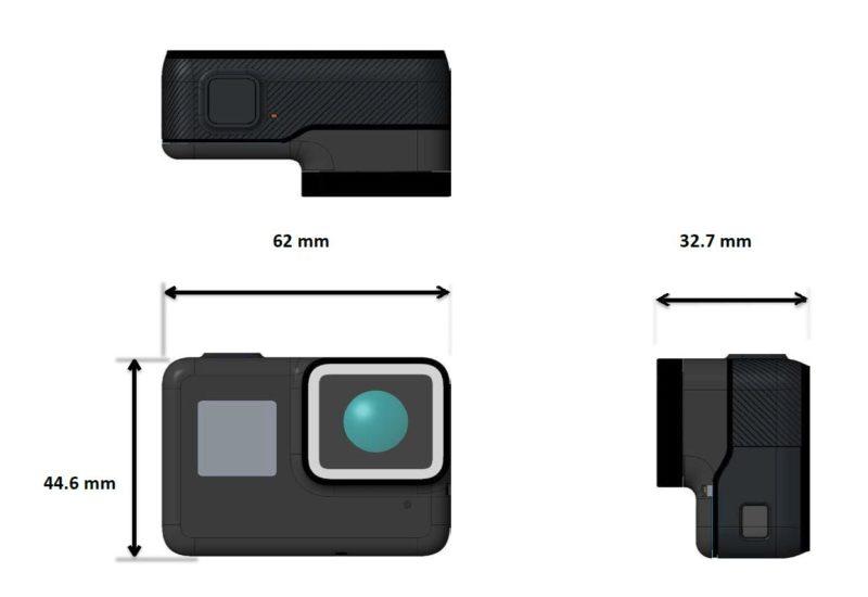 網路上流傳的 GoPro HERO5 設計圖,標示機身大小為 62 x 44.6 x 32.7 毫米。