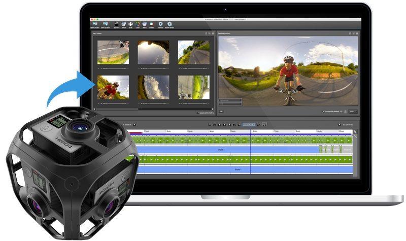 通過《Kolor》軟體,可將 6 部 GoPro 相機所拍的影片,合併為一段無縫的 360 度全景 VR 影片。