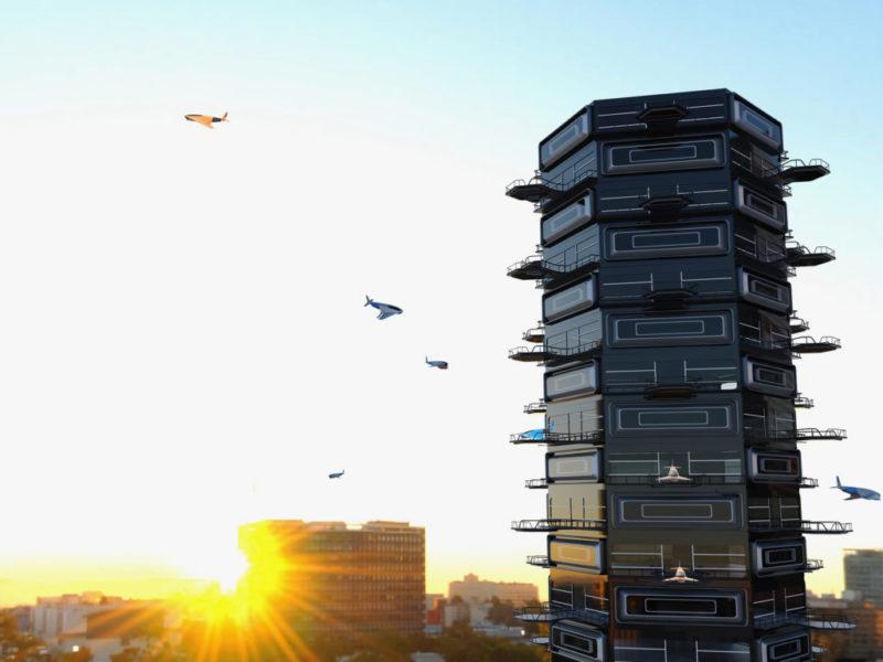 Drone Tower 變相是一棟大樓式的無人機機場。(Ashish Thulkar 設計圖片)