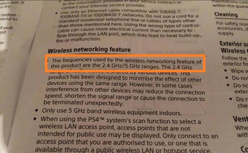 疑似是 PS4 Slim 的說明書顯示,PS4 Slim可支援 2.4 GHz / 5 GHz 雙頻 Wi-Fi。