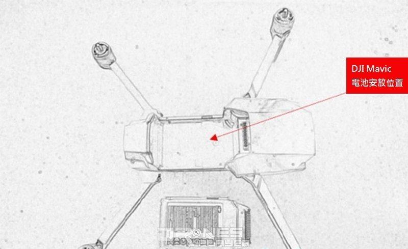DJI Mavic 無人機充電池的安放位置設於飛行器機頂。