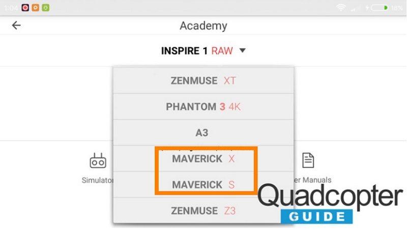 有外國網站貼出疑似是最新版本《DJI GO》的介面截圖,可見支援機種列中新增了「MAVERICK X」和「MAVERICK S」兩款型號,所指的有機會是 Mavic Pro 和 Mavic S。