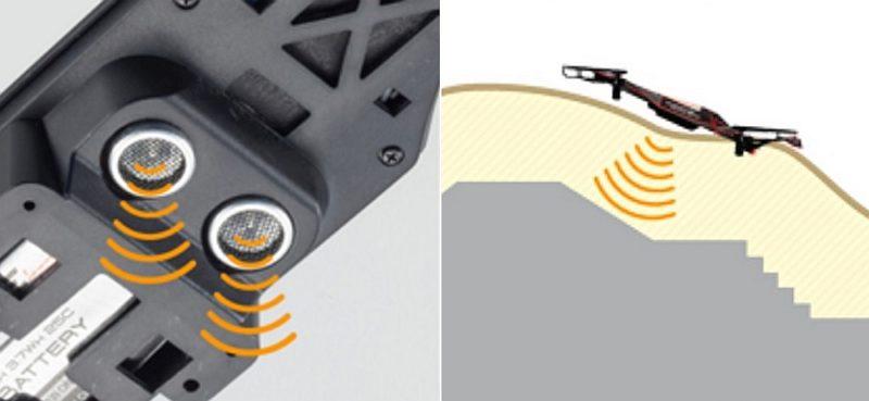 Kyosho Drone Racer 飛行器底部設有超聲波感測器,能控制機體在 35 或 60 厘米的低空飛行。