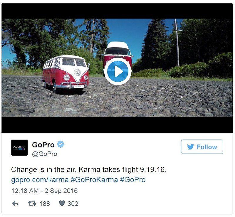 GoPro 於 9 月 2 日在官方 Twitter 帳戶轉貼 Karma 最新宣傳片。